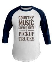 Country Music Cowboy Boots Pickup Trucks Baseball Tee front