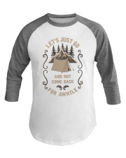 Adventure Camping and Hiking Travel Outdoor Baseball Tee front