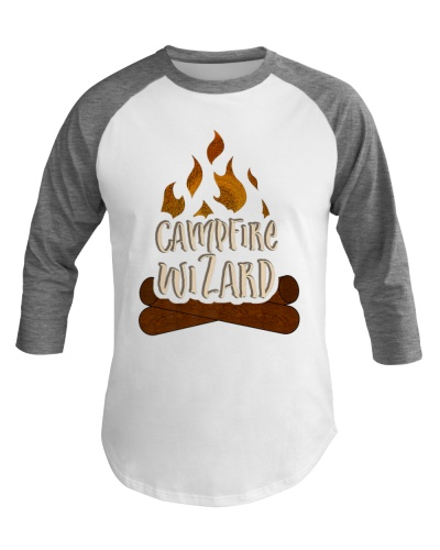 Funny Campfire Wizard Baseball Tee for Camping