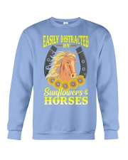 Easily Distracted By Horses and Sunflower Crewneck Sweatshirt thumbnail