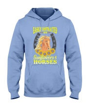Easily Distracted By Horses and Sunflower Hooded Sweatshirt thumbnail