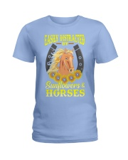 Easily Distracted By Horses and Sunflower Ladies T-Shirt thumbnail