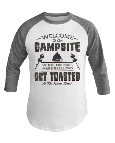 Funny Camping Baseball Tee Get Toasted