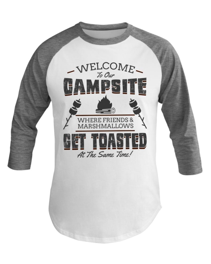 Funny Camping Baseball Tee Get Toasted Baseball Tee
