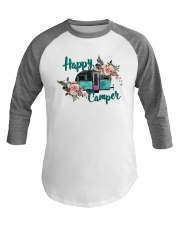 Funny Happy Camper Camping Baseball Tee front