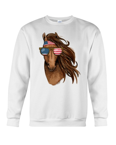 Cool Patriot Horse 4th July Horse Tee USA Flag