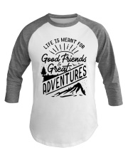 Camping Good Friends and Great Adventures Baseball Tee front