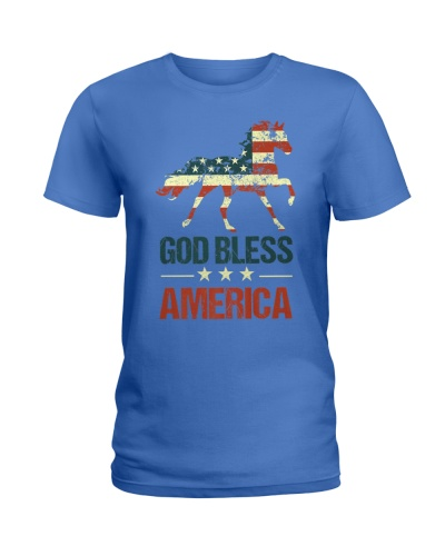 God Bless America Horse American Flag