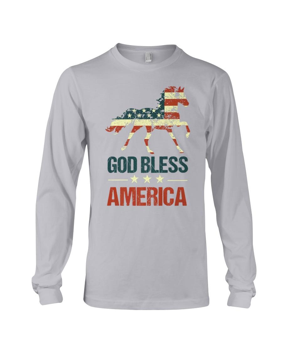 God Bless America Horse American Flag Long Sleeve Tee