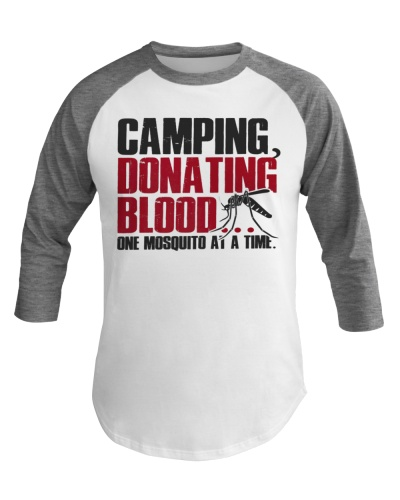 Funny Camping Baeball Tee talk about donating