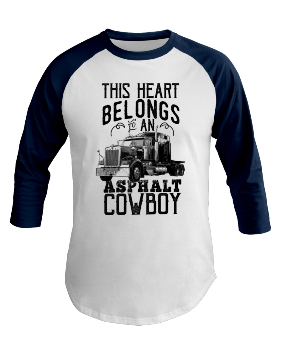 Asphalt Cowboy Truck Driver Baseball Tee