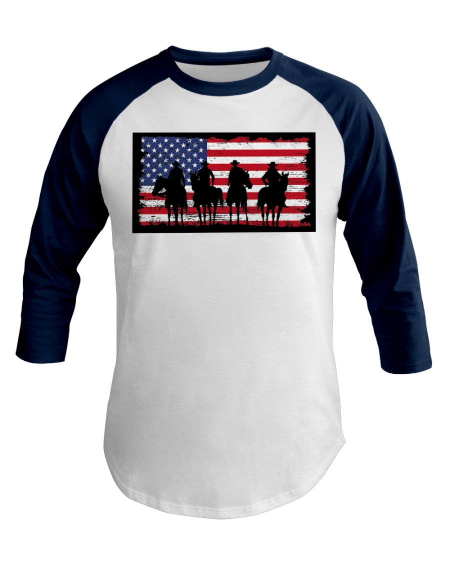 American Western Cowboys on Horses Baseball Tee