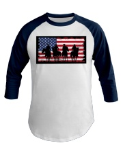 American Western Cowboys on Horses Baseball Tee front