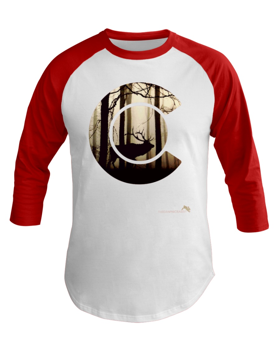Colorado Flag Logo Elk Hunting Men Baseball Tee