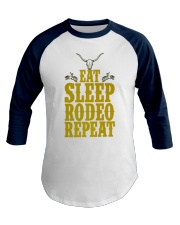 Eat Sleep Rodeo Repeat Funny Western for Cowboys Baseball Tee front