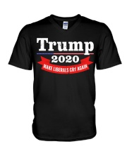 Trump 2020 make liberals cry again V-Neck T-Shirt thumbnail