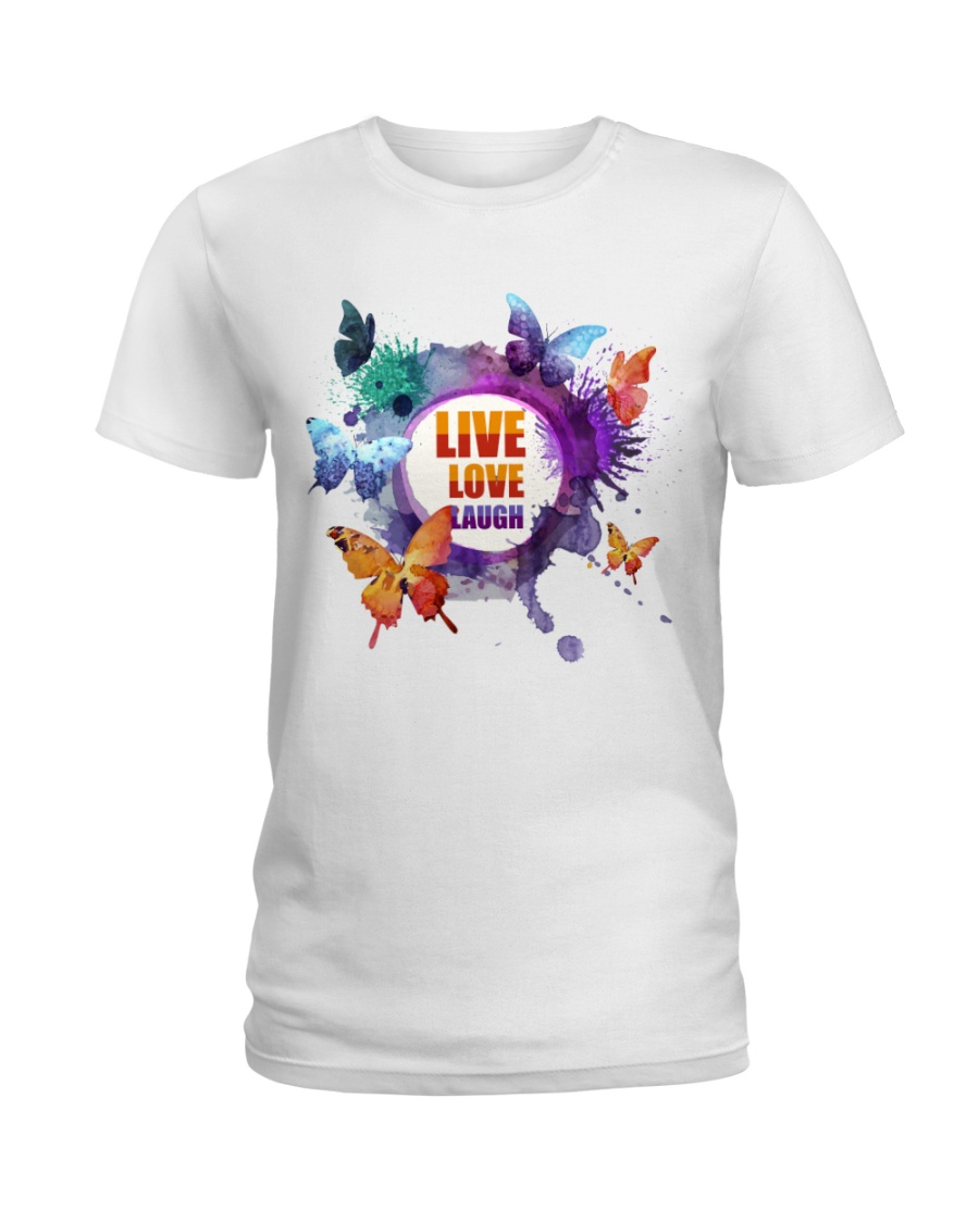 Live Love Laugh Butterfly  Ladies T-Shirt