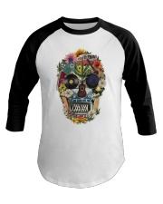 Hippie Skull Flower Baseball Tee thumbnail