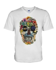 Hippie Skull Flower V-Neck T-Shirt thumbnail