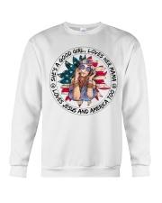Good Girl Sunflower American Flag Crewneck Sweatshirt thumbnail