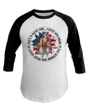 Good Girl Sunflower American Flag Baseball Tee thumbnail