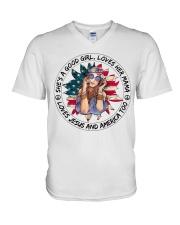 Good Girl Sunflower American Flag V-Neck T-Shirt thumbnail