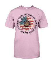 Good Girl Sunflower American Flag Classic T-Shirt thumbnail