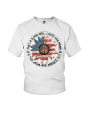 Good Girl Sunflower American Flag Youth T-Shirt thumbnail