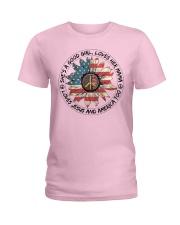 Good Girl Sunflower American Flag Ladies T-Shirt thumbnail