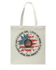 Good Girl Sunflower American Flag Tote Bag thumbnail