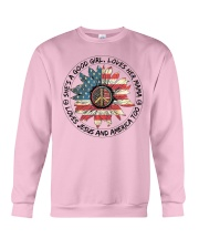 Good Girl hippie American Flag Crewneck Sweatshirt thumbnail