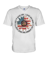 Good Girl hippie American Flag V-Neck T-Shirt thumbnail