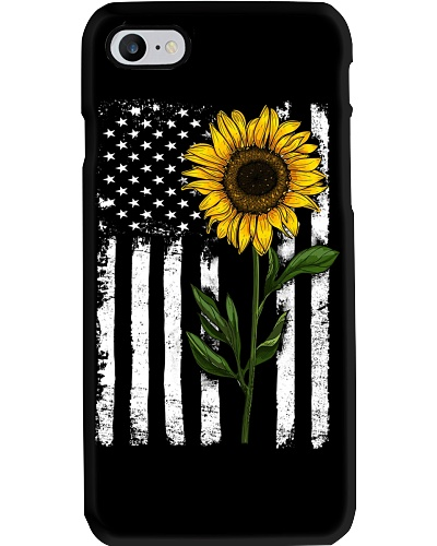 Sunflower American flag Phoncase