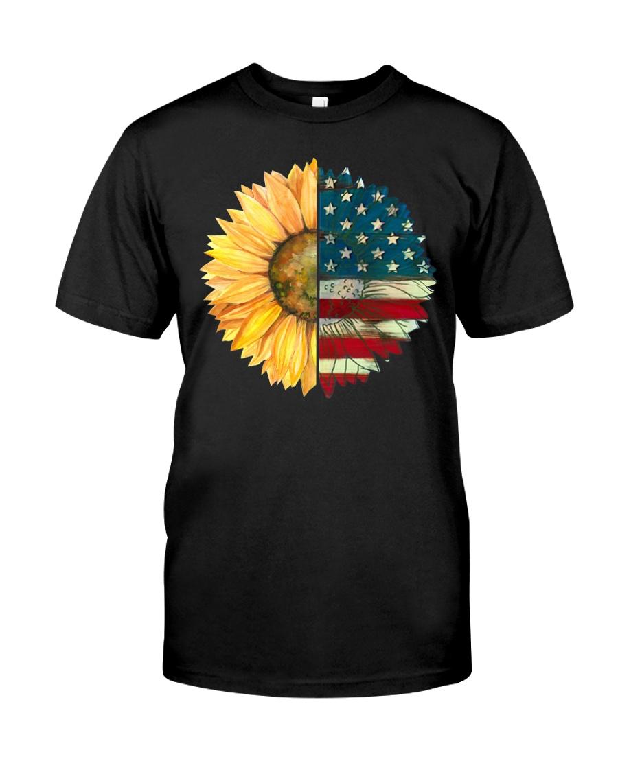 Sunflower American Flag Classic T-Shirt