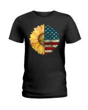 Sunflower American Flag Ladies T-Shirt thumbnail