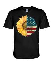Sunflower American Flag V-Neck T-Shirt thumbnail