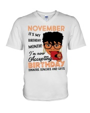 November Gift for Birthday Girl V-Neck T-Shirt thumbnail