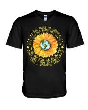 Sunflower hippie Girl V-Neck T-Shirt thumbnail