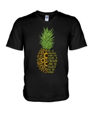 Pineapple sunflower V-Neck T-Shirt thumbnail