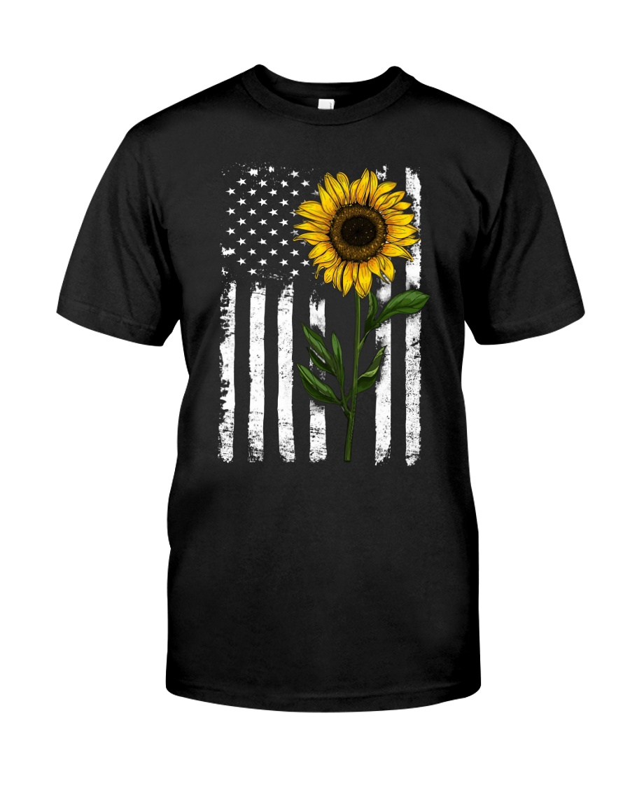 Sunflower american Flag Hippie Girl Classic T-Shirt