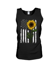 Sunflower american Flag Hippie Girl Unisex Tank thumbnail