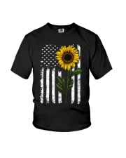 Sunflower american Flag Hippie Girl Youth T-Shirt thumbnail