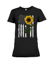 Sunflower american Flag Hippie Girl Premium Fit Ladies Tee thumbnail