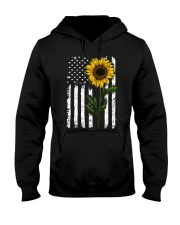 Sunflower american Flag Hippie Girl Hooded Sweatshirt thumbnail