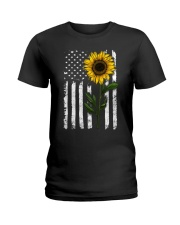 Sunflower american Flag Hippie Girl Ladies T-Shirt thumbnail