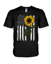 Sunflower american Flag Hippie Girl V-Neck T-Shirt thumbnail