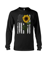 Sunflower american Flag Hippie Girl Long Sleeve Tee thumbnail