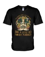 Hippie girl yoga V-Neck T-Shirt thumbnail