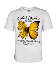 Sunflower Butterfly V-Neck T-Shirt thumbnail