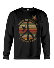 Hippe girl Living life in Peace Crewneck Sweatshirt thumbnail